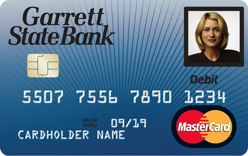 Garrett State Bank debit card with woman's ID picture in upper right hand corner