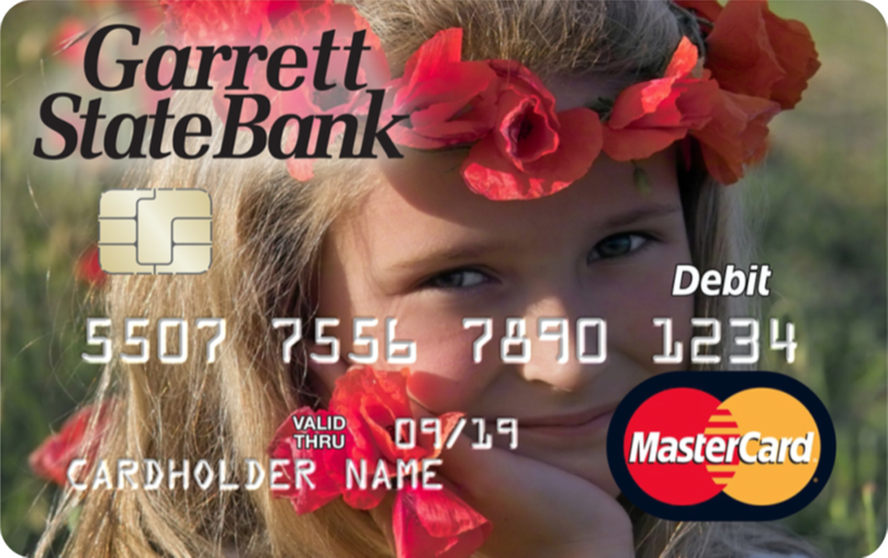 Garrett State Bank debit card with full image of girl