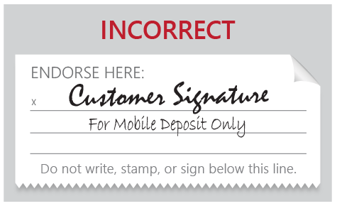 Incorrectly Endorsed Mobile Deposit Check 1